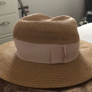 Tan Floppy Hat with a Pink Ribbon from H&M